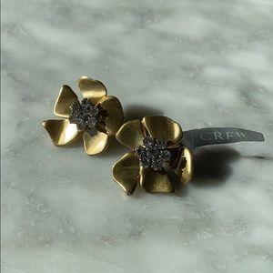 J. Crew Gold Floral Rhinestone Earrings